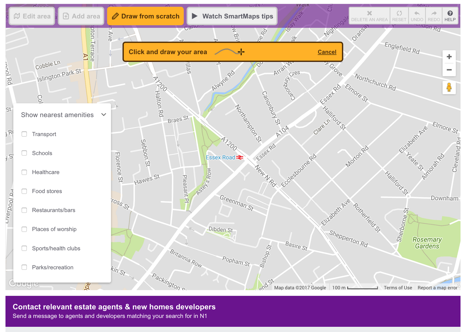 screenshot of Zoopla's SmartMaps feature