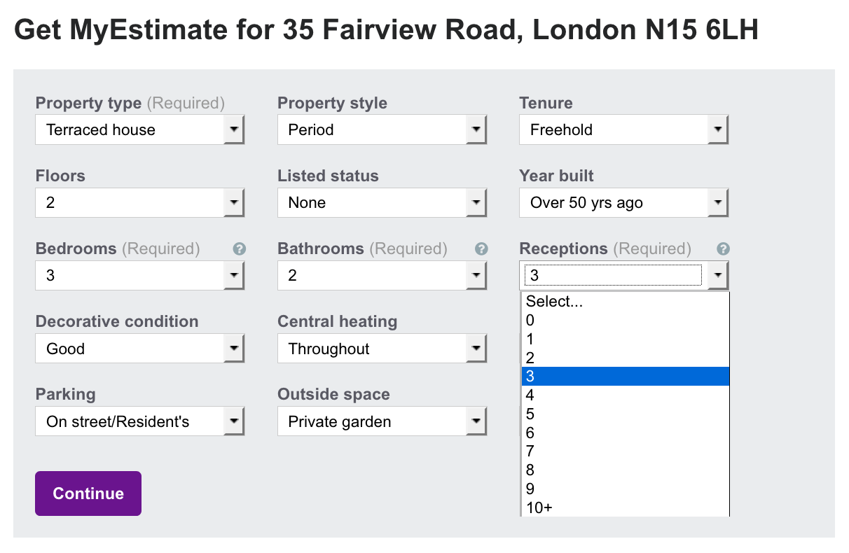 screenshot of Zoopla's MyEstimate feature