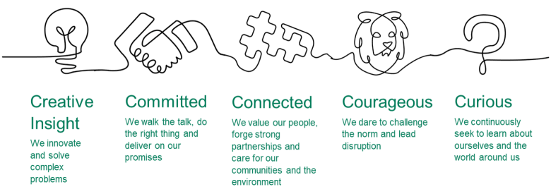 our purpose, vision and five core values