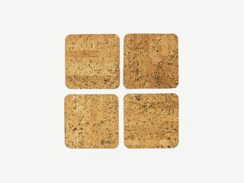 Set of 4 squared cork coasters