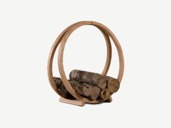 Round wooden firework rack.