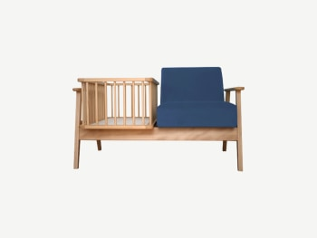 Wood 2-seater sofa with one seat replaced with a cradle.