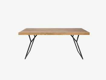 Wooden reclaimed teak table with iron legs.