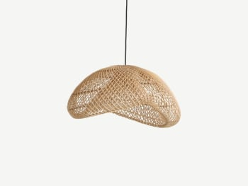 Rattan pendant lamp with a curved shape.