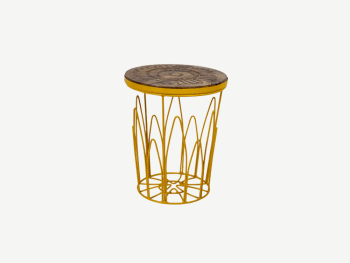 Stool with yellow metal structure and wood base.