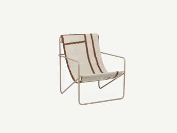 Lounge chair with Modernist steel structure and fabric seat.