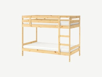Solid wood bunk bed.