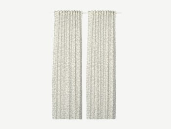 White curtains with grey floral pattern