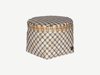 Woven basket made of bamboo and recycled plastic strips.