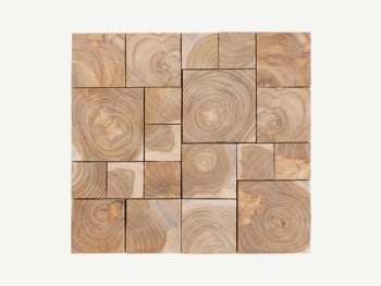 Wood panel made of small square wood tiles of different sizes.