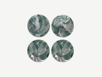 4 green coaster with a marble-like pattern
