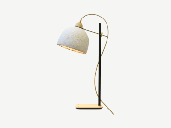 Sustainable table lamp with a contemporary shape, black steel base and a cup-shaped lampshade.