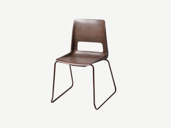 Brown plastic chair with steel legs.
