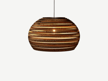 Pendant lamp made with juxtaposed cardboard sheets.