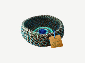 Small basket made with upcycled fishing nets.