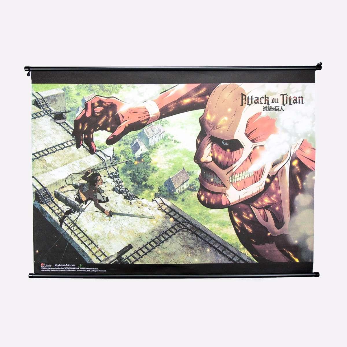 Eren vs. 50M Titan Wall Scroll home-decor