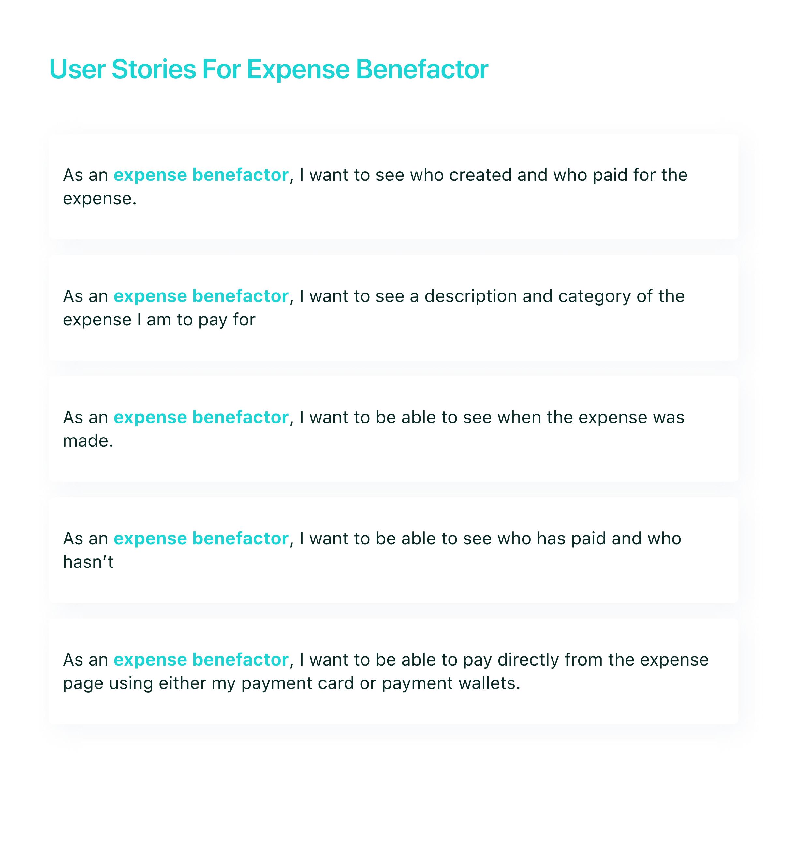 Expense Benefactor User Stories
