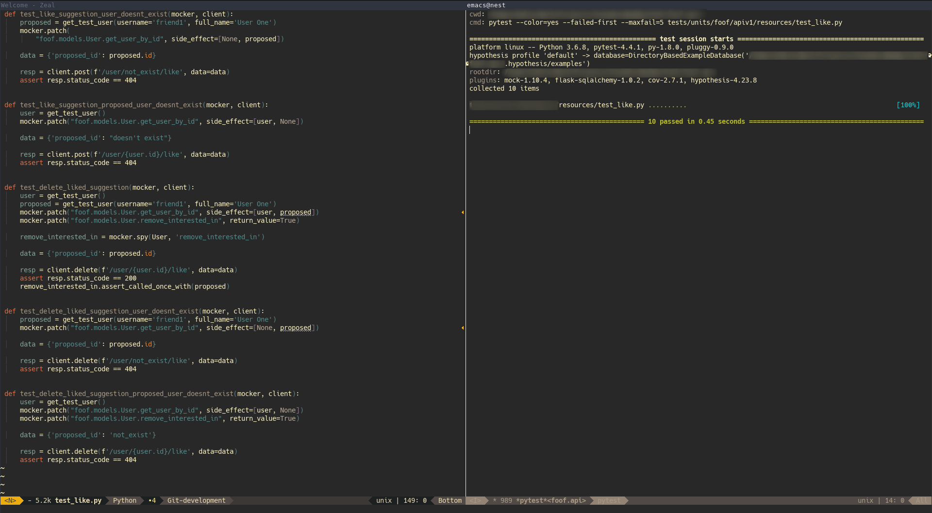 Running Pytest inside Emacs