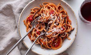 "Linguine with Mushroom ""Bacon,"" Onion & Tomato"