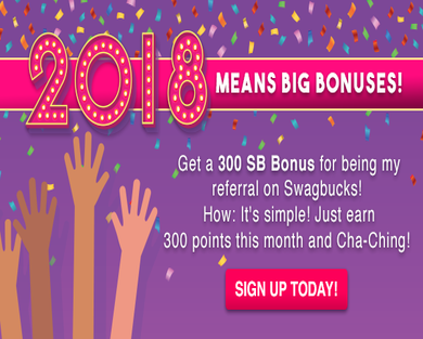 Get a $3 bonus for being my referral on Swagbucks! Sign up today and when you earn 300 SB within a month, you