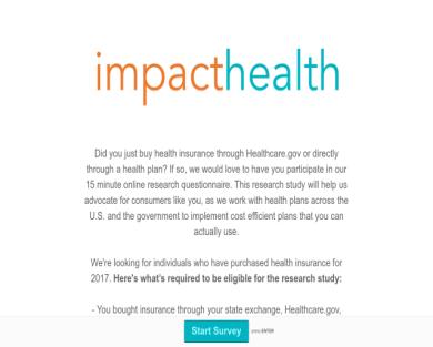 $25 dollars for 5 minute health insurance survey!