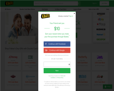 Get a $10 Gift Card from Ebates Cashback