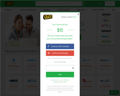 Ebates- Cash back for your purchases, $10 free!