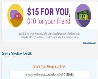 Get $10 on BeFrugal Rebating Site using my referral link