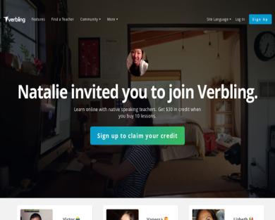 Get $30 Verbling credit using my link