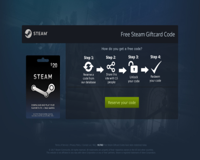 Get $20 steam gift cards with this website
