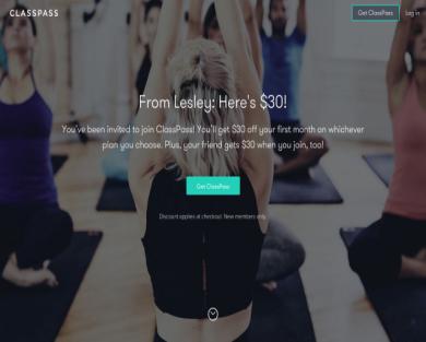 Classpass- $30 off your first month!