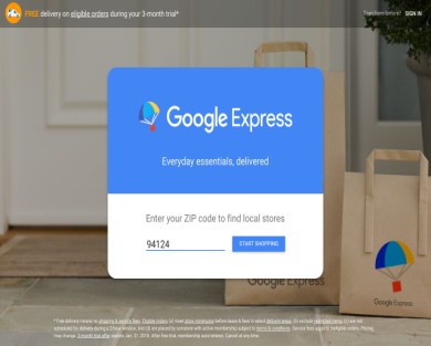 Get $10 credit on first Google Express order. New members only.