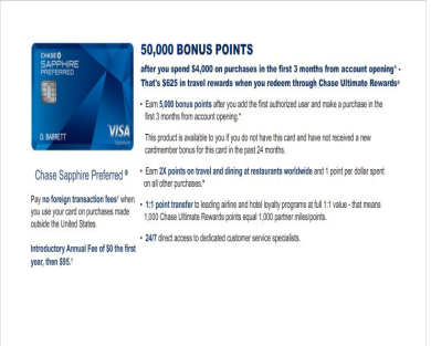 50,000 Bonus Points ($625 Travel Credit) When you Sign Up