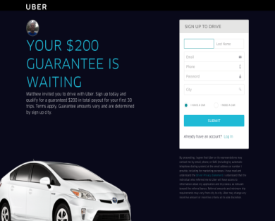 $200 Bonus for new UberX drivers!