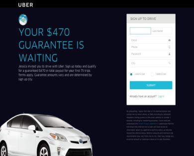 $470  become UBER Driver