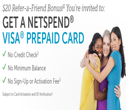 Earn UNLIMITED $20 Bonuses With Netspend Prepaid Debit Card Referrals