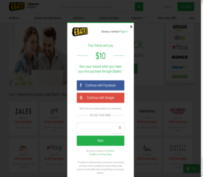 $10 sign up bonus for Ebates - the company that gives generous cash back when you shop.