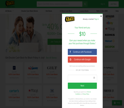 $10 Bonus after signing up and first eligible purchase on EBATES