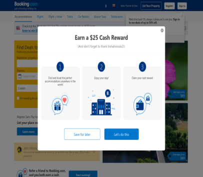 Get $25 cashback if you book a hotel in booking.com using this referral link