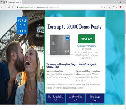 Chase World Of Hyatt Credit Card : 60,000 Hyatt Point Signup Bonus