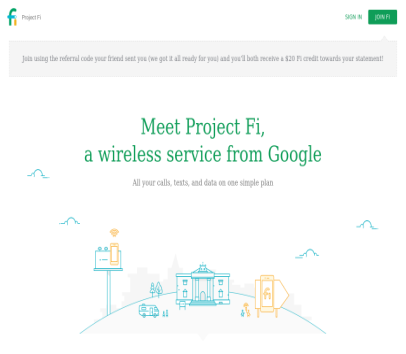 Here's a referral code to get a $20 credit when you join Project Fi! Redeem it