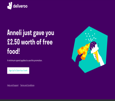 Get �2.50 pound off your first Deliveroo order