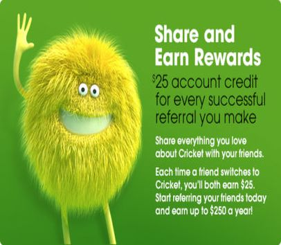 FREE $25 Cricket Wireless Referral Credit for New Subscribers