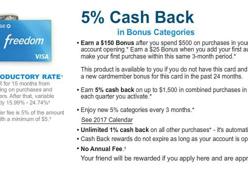 Earn $150 Bonus When you Sign up For Chase Freedom