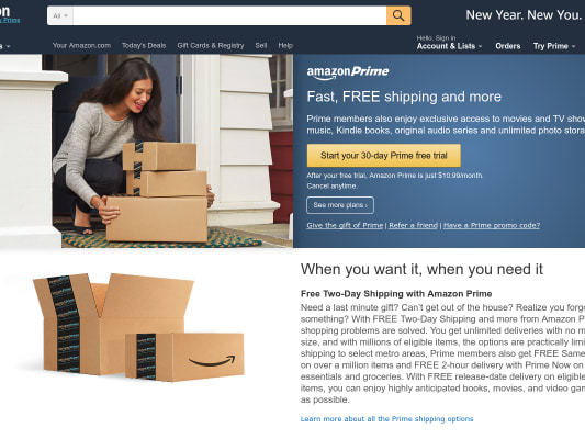 Free Amazon Prime 6 month trial