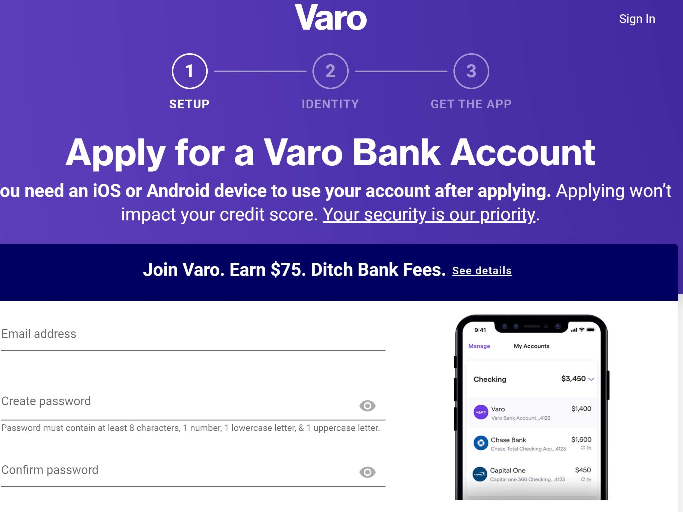 Free $100 from Varo. Easy sign up