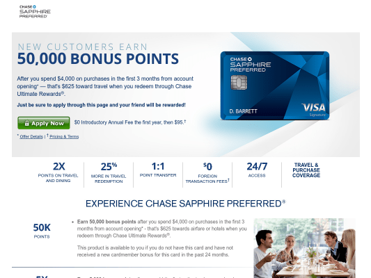 Get 50,000 Chase points with Chase Sapphire Preferred