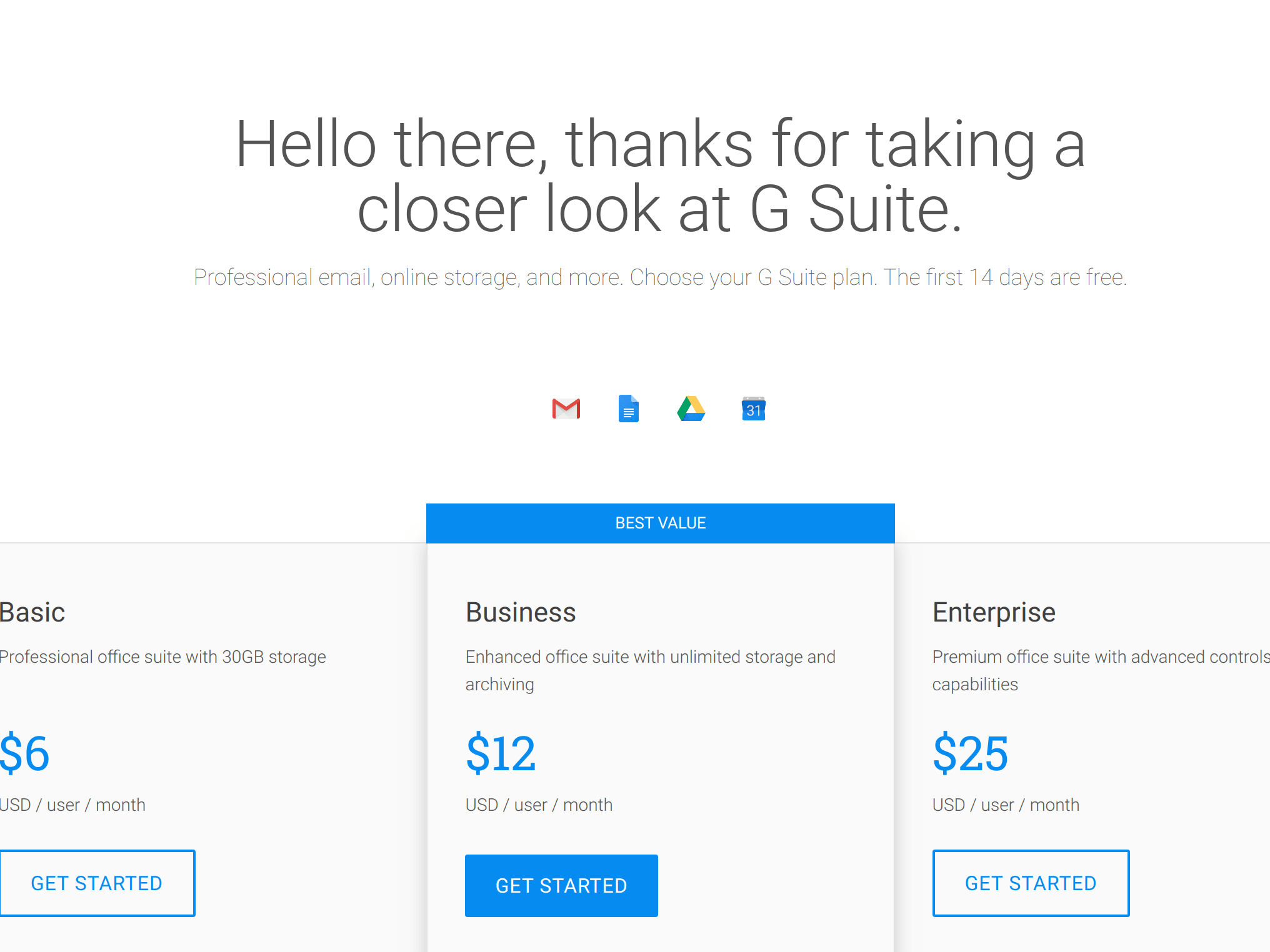 20% off first year of Google G Suite service