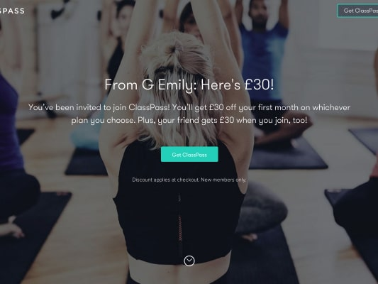 Get GBP 30 off Class Pass using my referral link - New Joiners