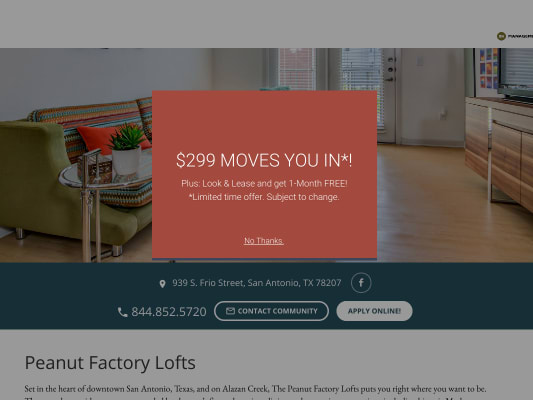 Get $250 if you lease using my referral at Peanut Factory Lofts San Antonio, Texas